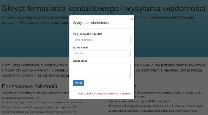 Zdjęcie projektu Skrypt formularza kontaktowego