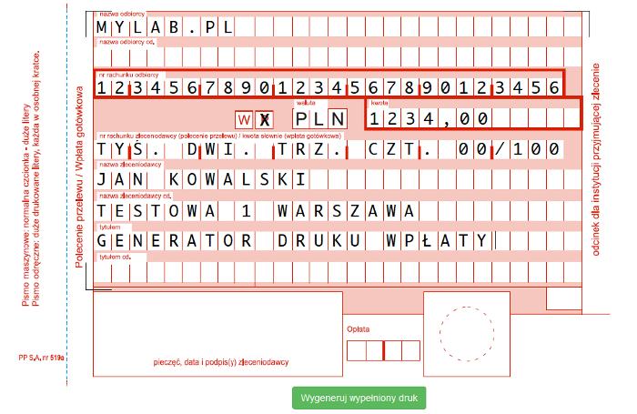 Zdjęcie projektu Generator druku wpłaty / przelewu (PP519A)